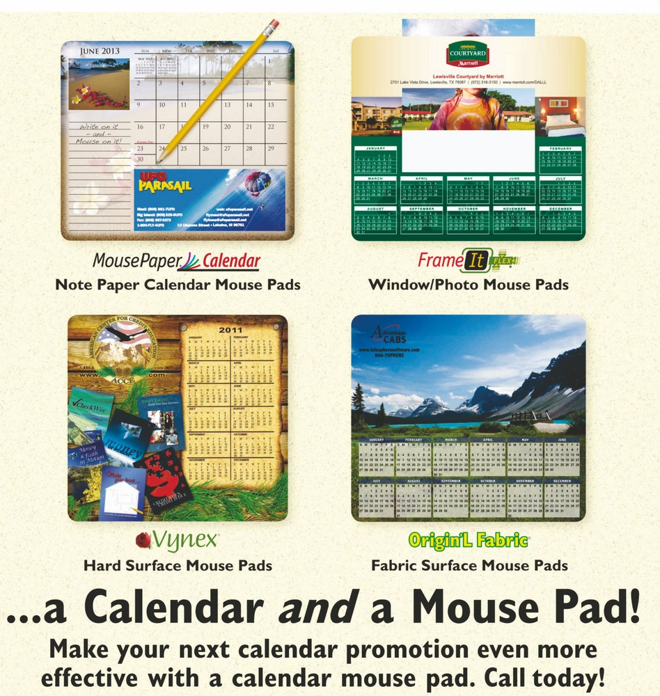 Mouse pads as Calendars